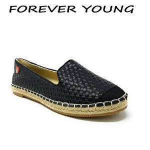 Women Wicker Espadrille Flats, E-2601, Black